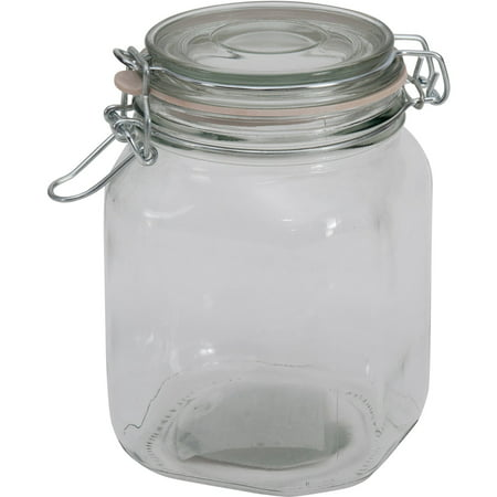 mainstays 38 oz clear glass jar with clamp lid. Black Bedroom Furniture Sets. Home Design Ideas