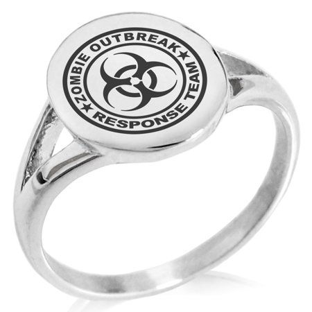 Stainless Steel Zombie Outbreak Response Team Minimalist Oval Top Polished Statement Signet Ring