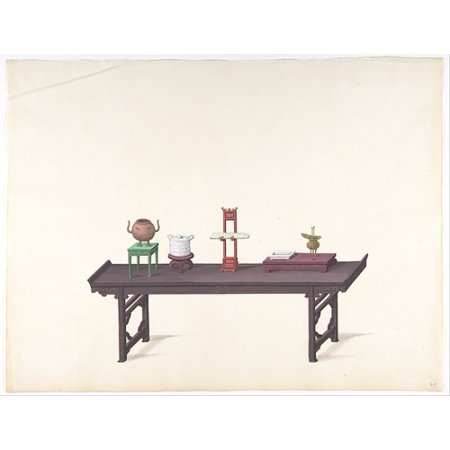 Long Low Purple Lacquer Table with Objects Poster Print by Anonymous Chinese 19th century Date 19th century Medium Pen and ink and gouache Dimensions Overall 14 18 x 18 38 in (18 x 24)