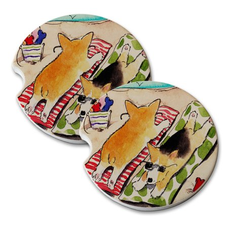 KuzmarK Sandstone Car Drink Coaster (set of 2) - Beach Corgis Welsh Corgi Dog Art by Denise Every