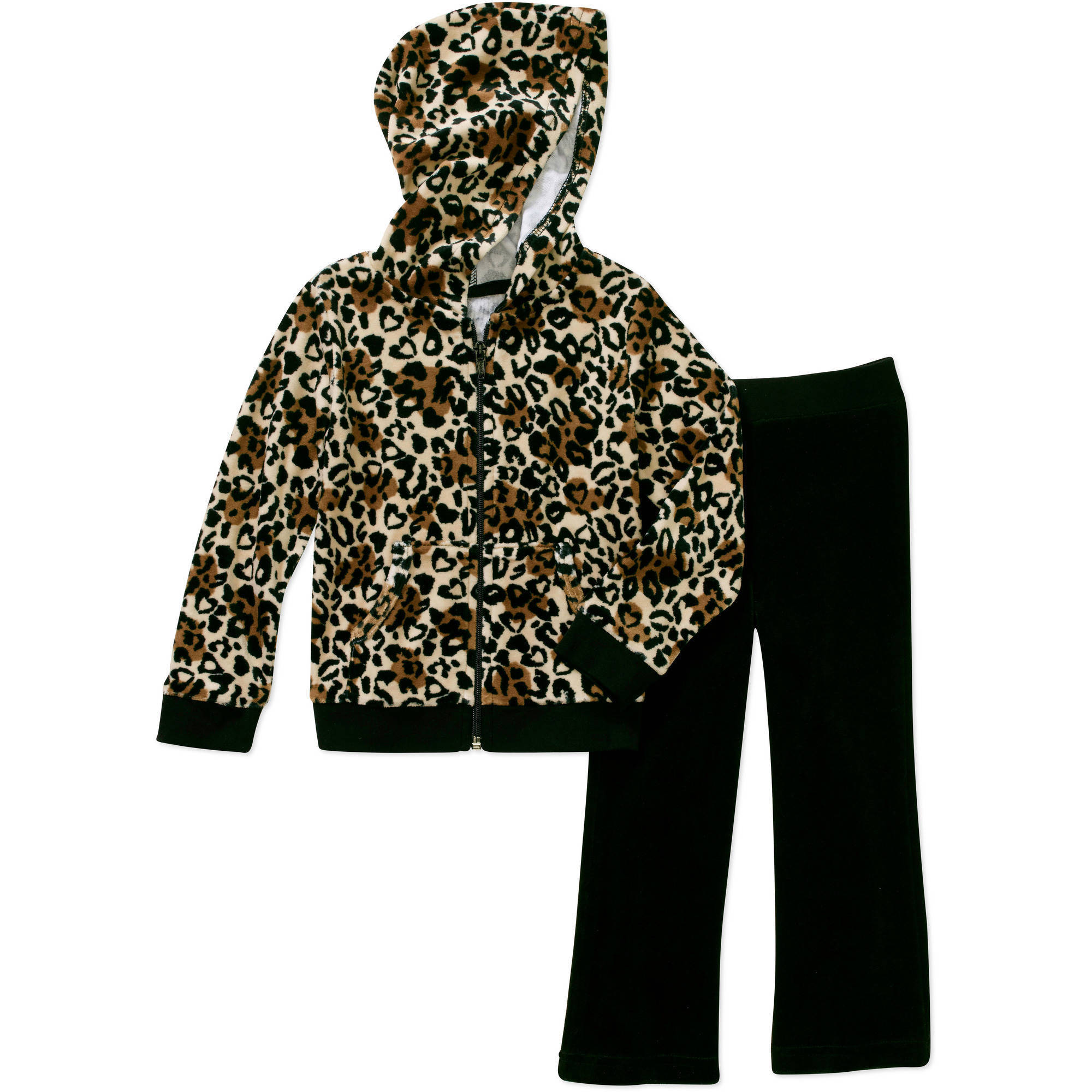 Healthtex Baby Toddler Girl Velour Hoodie and Pants Outfit Set