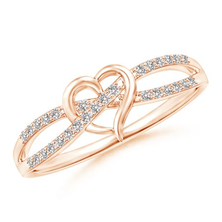 Round Diamond Criss Cross Heart Promise Ring in 14K Rose Gold (Weight: 0.15ctwt)