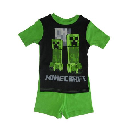 Minecraft Boys Green Short Sleeve 2 Pc Pajama Set - Minecraft Green