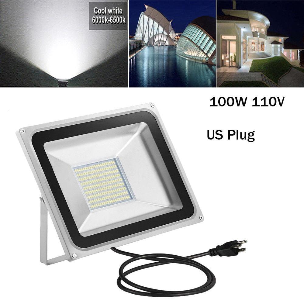 LED Flood Light, Viugreum 8000lm, 100W Outdoor Security Light, IP65 Waterproof PIR Floodlight, Landscape Wall Lights for Yard Garage, 5000K Daylight White with 3-Plug -1 Pack