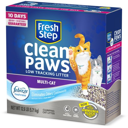 Fresh Step Clean Paws Multi-Cat Scented Litter with the Power of Febreze, Clumping Cat Litter, 12.6
