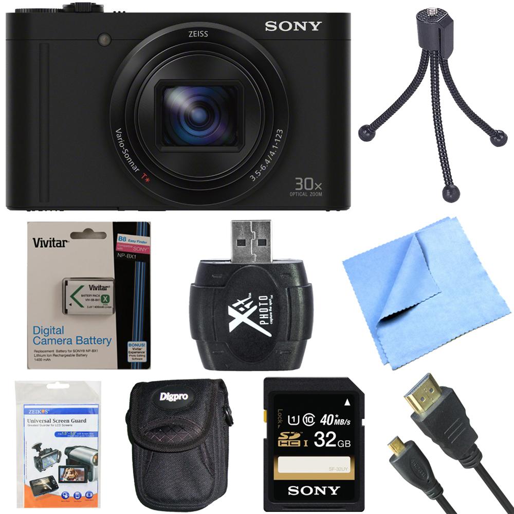Sony Cyber-Shot DSC-WX500/B WX500B WX500 Digital Camera Black 32GB Bundle includes Cyber-Shot DSC-WX500 Digital Camera, screen protectors, compact carrying case, 32GB memory card, card reader, mini t