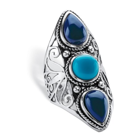 Round and Pear-Cut Simulated Turquoise and Blue Lapis Boho Scroll Cocktail Ring in Antiqued Sterling Silver