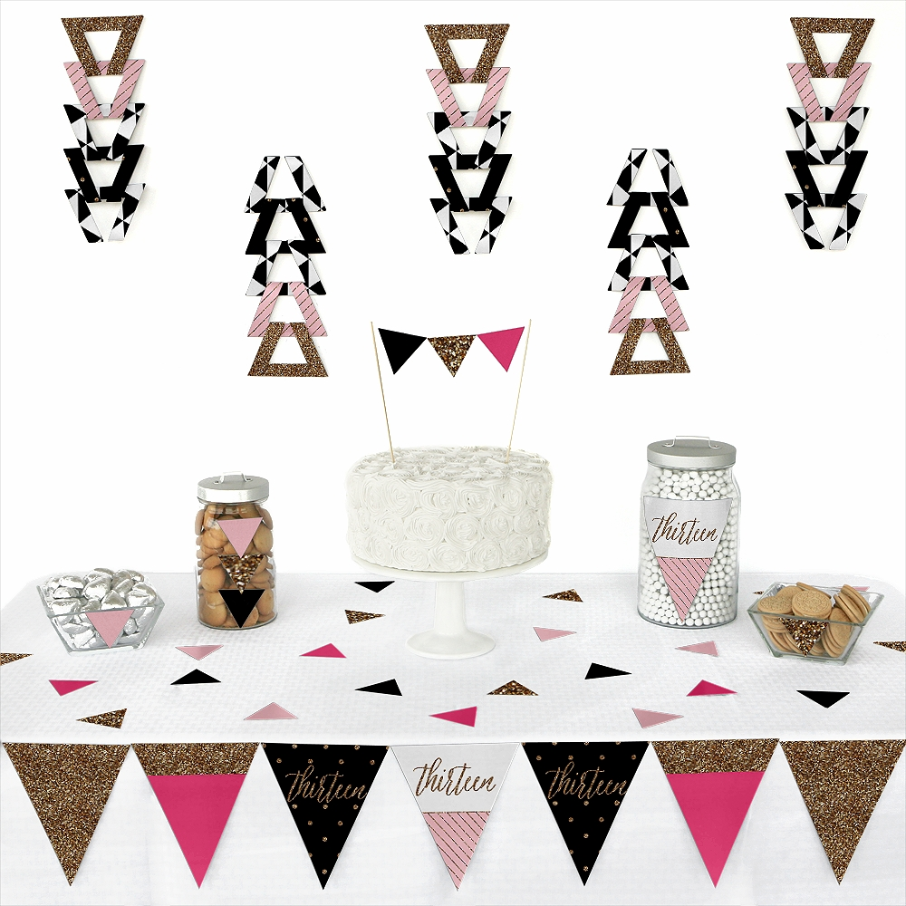 Chic 13th Birthday - Pink, Black and Gold - Triangle Birthday Party Decoration Kit - 72 Pieces