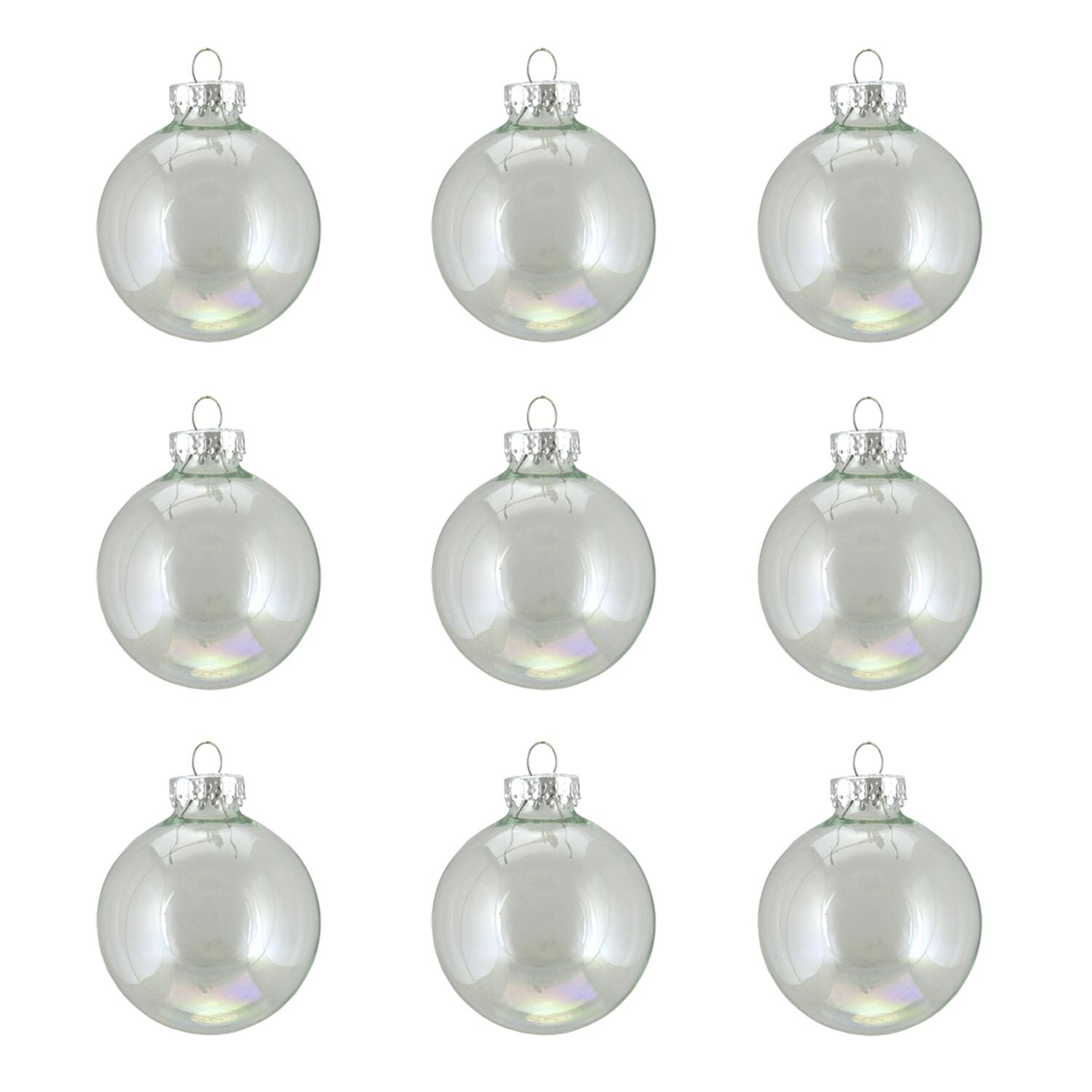"9ct Clear Iridescent Glass Ball Christmas Ornaments 2"" (50mm)"