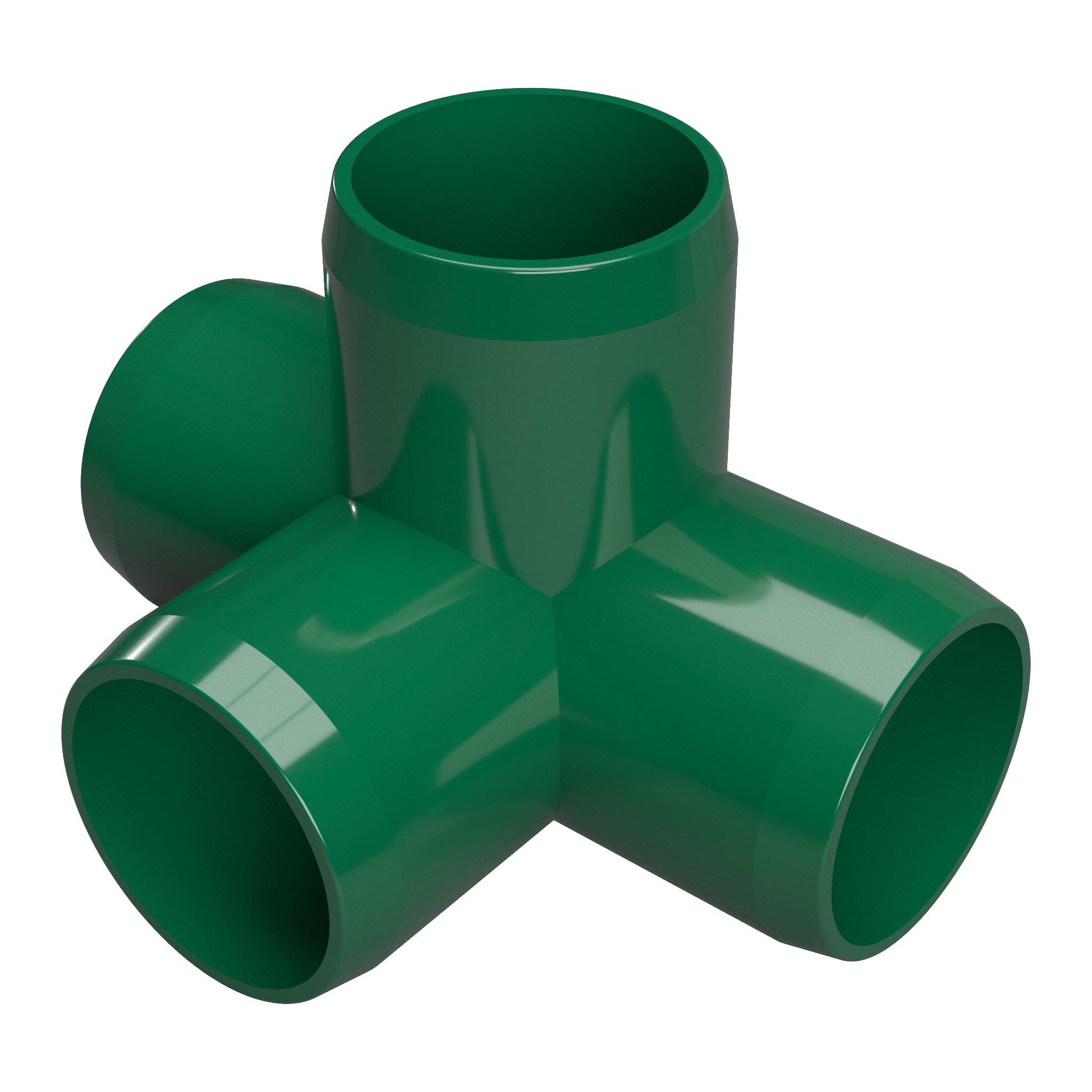 "FORMUFIT F1144WT-GR-4 4-Way Tee PVC Fitting, Furniture Grade, 1-1/4"" Size, Green , 4-Pack"