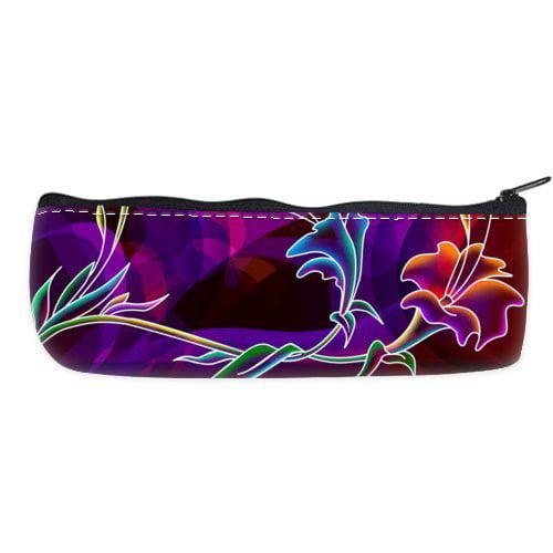 POPCreation Flower Art Painting Colorful Purple Background School Pencil Case Pencil Bag Zipper Organizer Bag