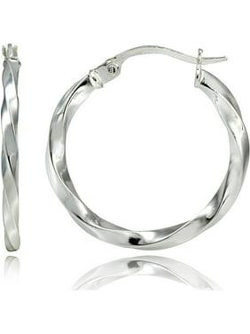 Sterling Silver 2mm Twist Round Hoop Earrings