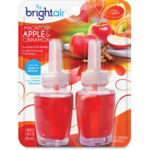Bright Air Electric Scented Oil Air Freshener Refill - Oil - Macintosh Apple, Cinnamon - 45 Day - 2 / Pack (bri-900255)