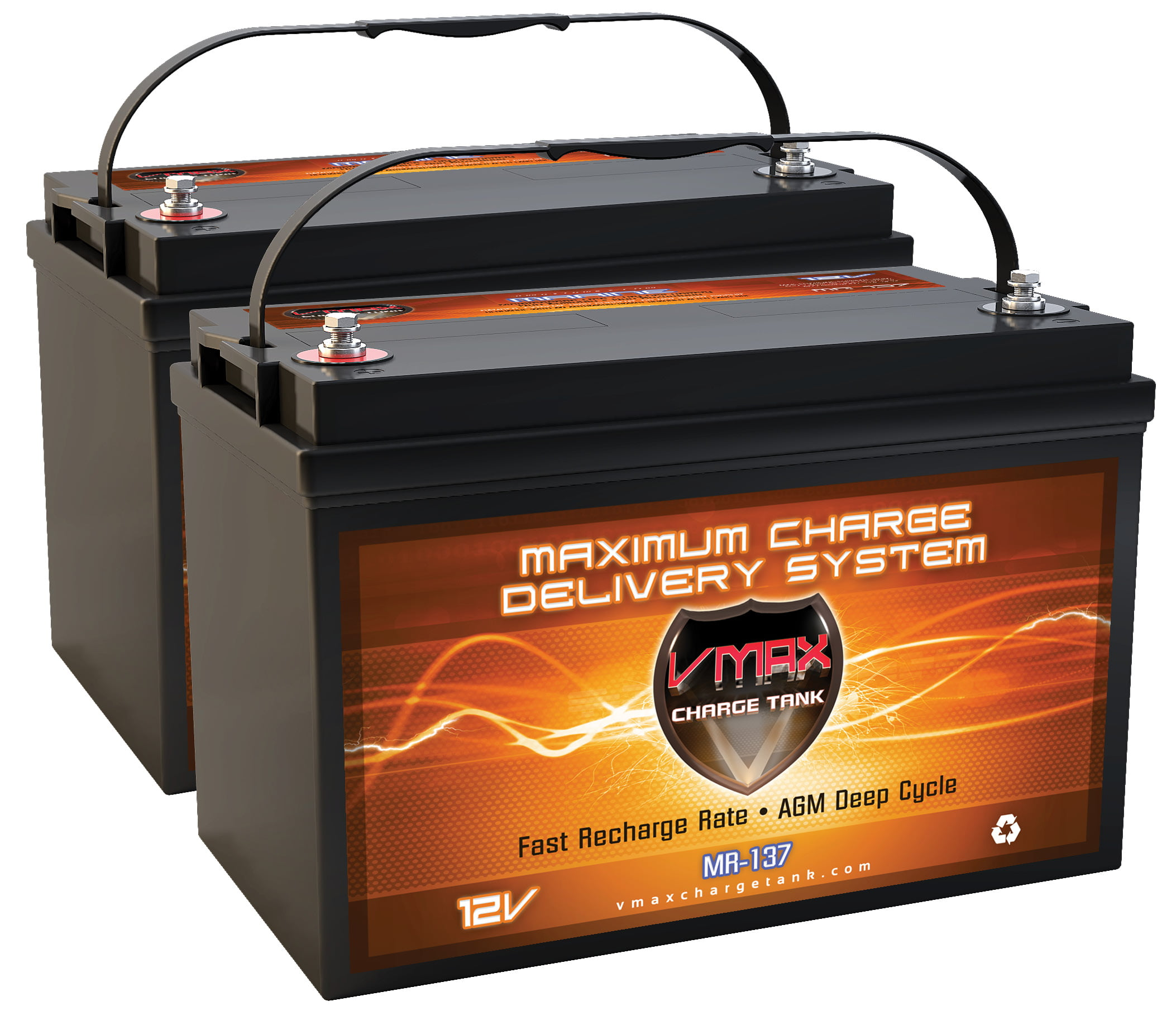 QTY2 VMAX MR137-120 12V 120AH AGM Deep Cycle Group 31 Batteries for Minn Kota Maxxum 70 SC BG Hand Freshwater Bow Mount... by VMAX USA
