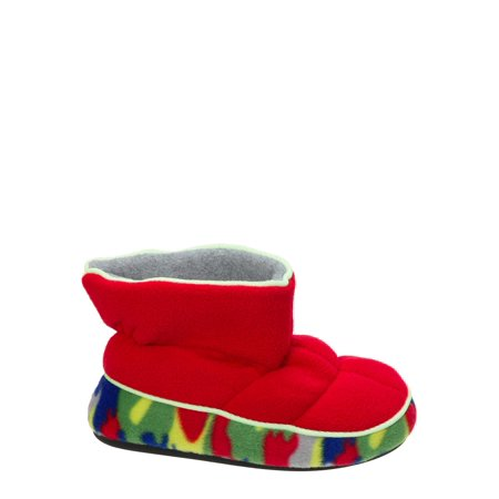 DF by Dearfoams Boys' Quilted Fleece Bootie with Glow Slippers ()