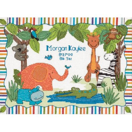 Baby Hugs Mod Zoo Birth Record Counted Cross Stitch Kit-12X9 14 (Mold Zoo)