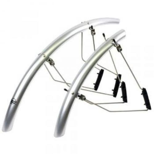 Planet Bike SpeedEZ Road Front and Rear Bicycle Fender Set (Silver Aluminum, 35mm Wide)