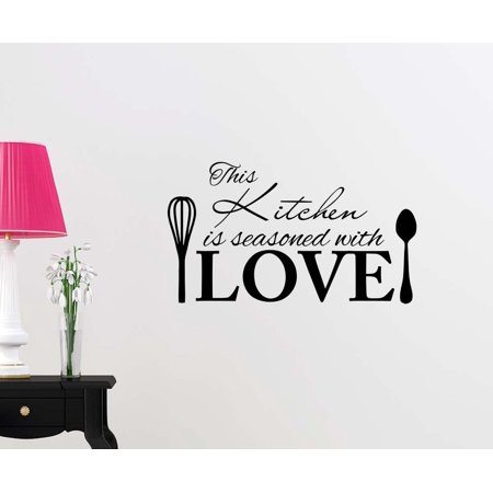 Wall Vinyl Decal This Kitchen is seasoned with love cute inspirational family love vinyl quote saying wall art lettering sign room decor