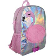 "Flamingo Plush Holographic 16"" Backpack"