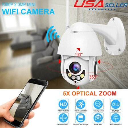 4X ZOOM HD 1080p Wireless PTZ Security Camera Waterproof Wi-Fi FHD Dome 360 Outdoor IP Camera Speed Dome Camera 2.0MP Waterproof Cam WiFi dual-source ball machine-2.0MP