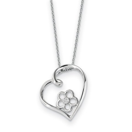 Sterling Silver CZ My Special Niece 18in Flower in Heart Necklace 18 Inch - image 1 of 3