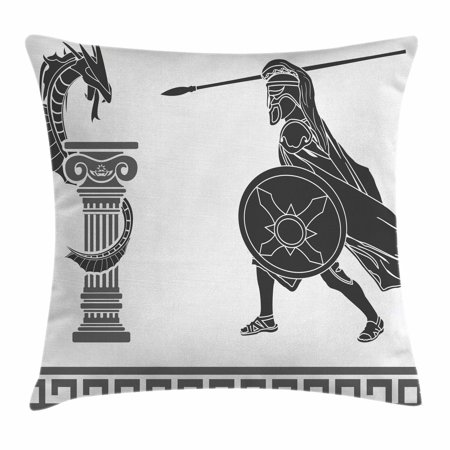 Toga Party Throw Pillow Cushion Cover, Mythological Scene Ancient Hero and Dragon Hellenic Legend Fantasy, Decorative Square Accent Pillow Case, 18 X 18 Inches, Grey Charcoal Grey White, by - Toga Party Ideas