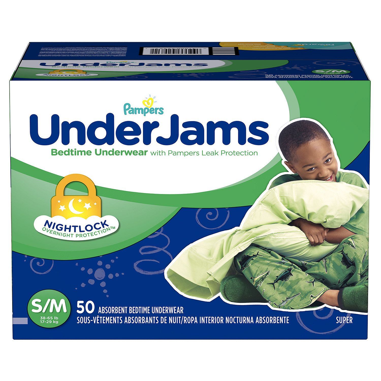 Pampers' UnderJams Bedtime Underwear for Boys Size S/M - 50 ct. ( Weight 38- 65 lb.) - Bulk Qty, Free Shipping - Comfortable Underwear