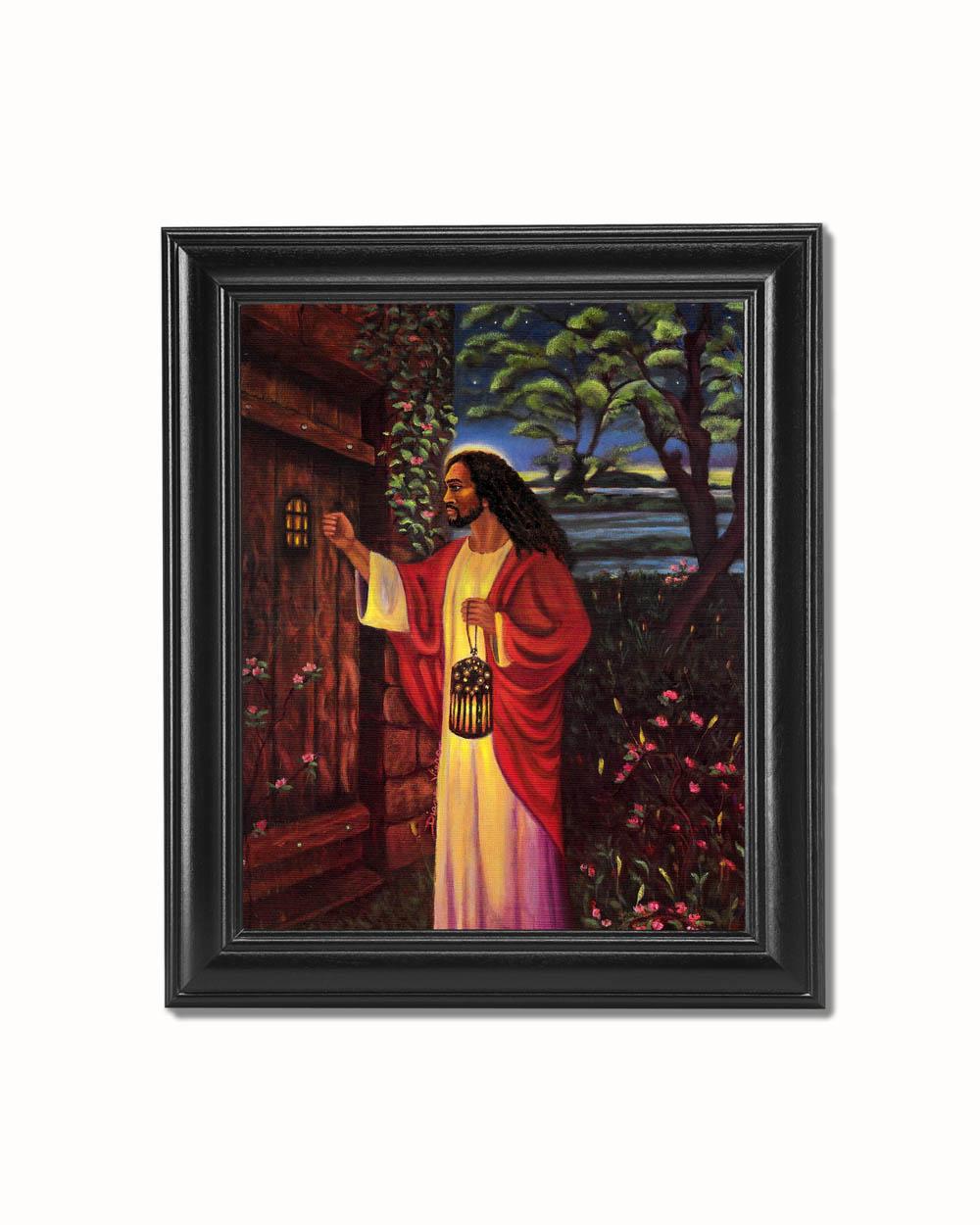 Black Jesus Wall Art: African American Black Jesus Knocking At Your Door Black