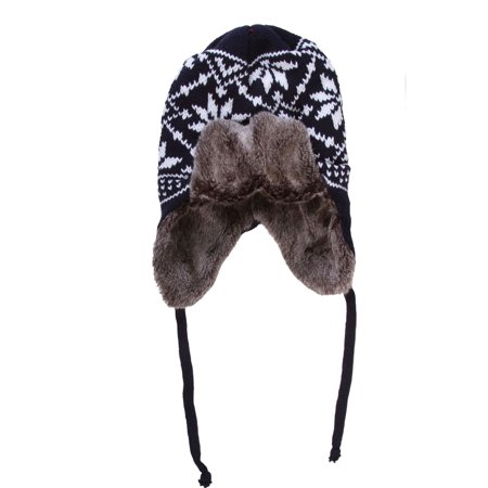 - Unisex Cold Weather / Winter Knit Faux Fur Hat with Earflaps