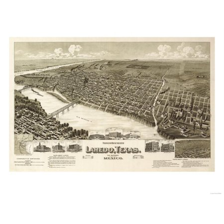 Laredo, Texas - Panoramic Map Print Wall Art By Lantern Press