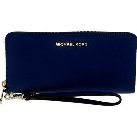 Michael Kors Women's Jet Set Travel Continental Leather Wallet Baguette - Electric Blue Blue Leather Wallet