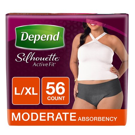 Depend Silhouette Active Fit Incontinence Briefs for Women, Moderate Absorbency, L/XL, 56