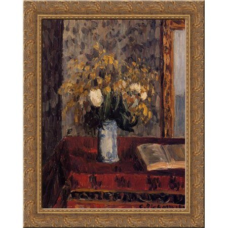 Garnet Wood (Vase of Flowers, Tulips and Garnets 20x24 Gold Ornate Wood Framed Canvas Art by Pissarro, Camille )