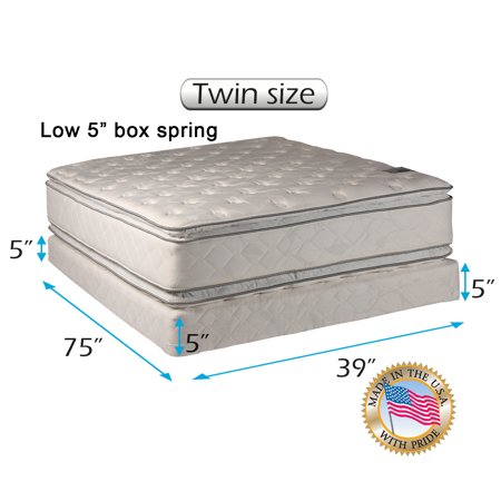 Dream Solutions USA Brand Soft PillowTop Mattress and Low Height Box Spring Set (Twin Size) Double-Sided Sleep System with Enhanced Cushion Support- Fully Assembled, Back Support, Longlasting Quality