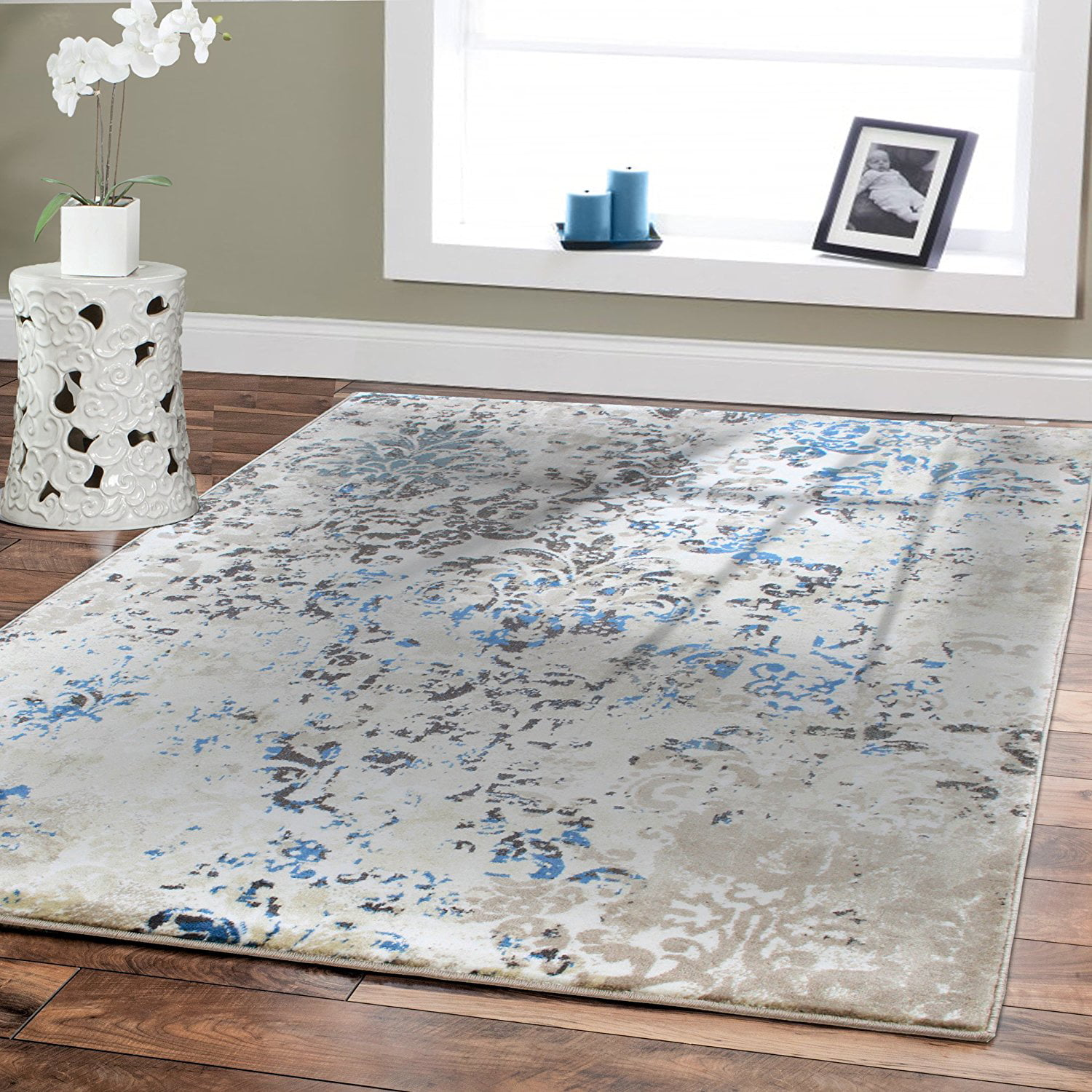 Luxury High Quality Rugs For Living Room 8x11 Cream Blue Dynamix