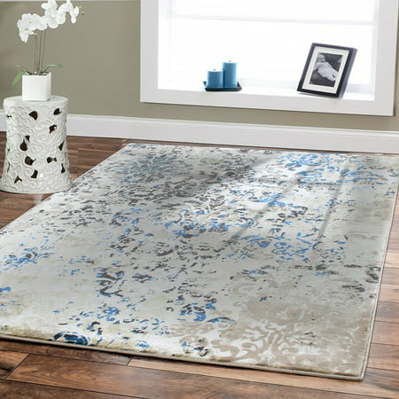 Luxury High Quality Rugs for Living Room 8x11 Cream Blue Dynamix Modern Rug  8x10 Rugs on