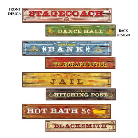 Club Pack of 12 Double- Sided Country Western Sign Decoration Cutouts 24
