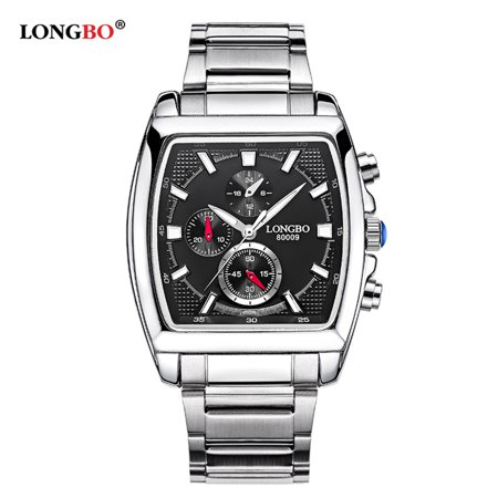 LONGBO Brand Fashion Quartz Casual Wristwatch Luxury Rectangle Watches Men Alloy Strap Watches Male Military Watch (Luxury Brands For Men)