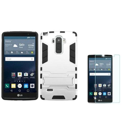 Insten Dual Layer Case w/stand For LG G Stylo - Silver/Black (+ Shatterproof Tempered Glass Screen Protector)