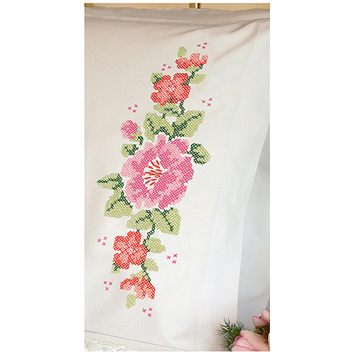 """Dimensions """"Pink Rose"""" Pillowcase Pair Stamped Cross Stitch, 20"""" x 30"""""""