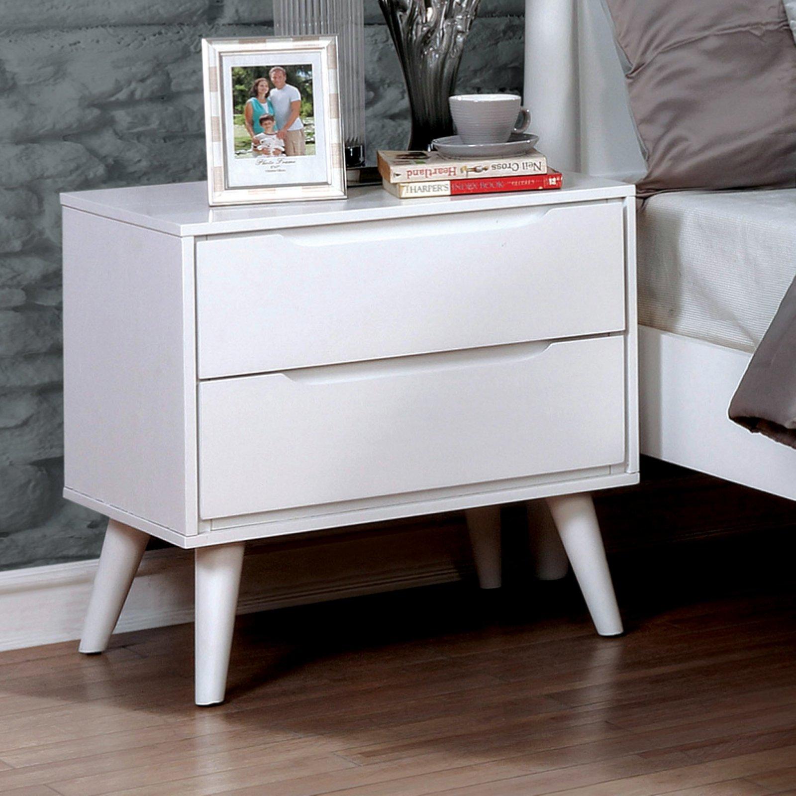 Furniture of America Stewart I Mid-Century Modern 2-Drawer Nightstand