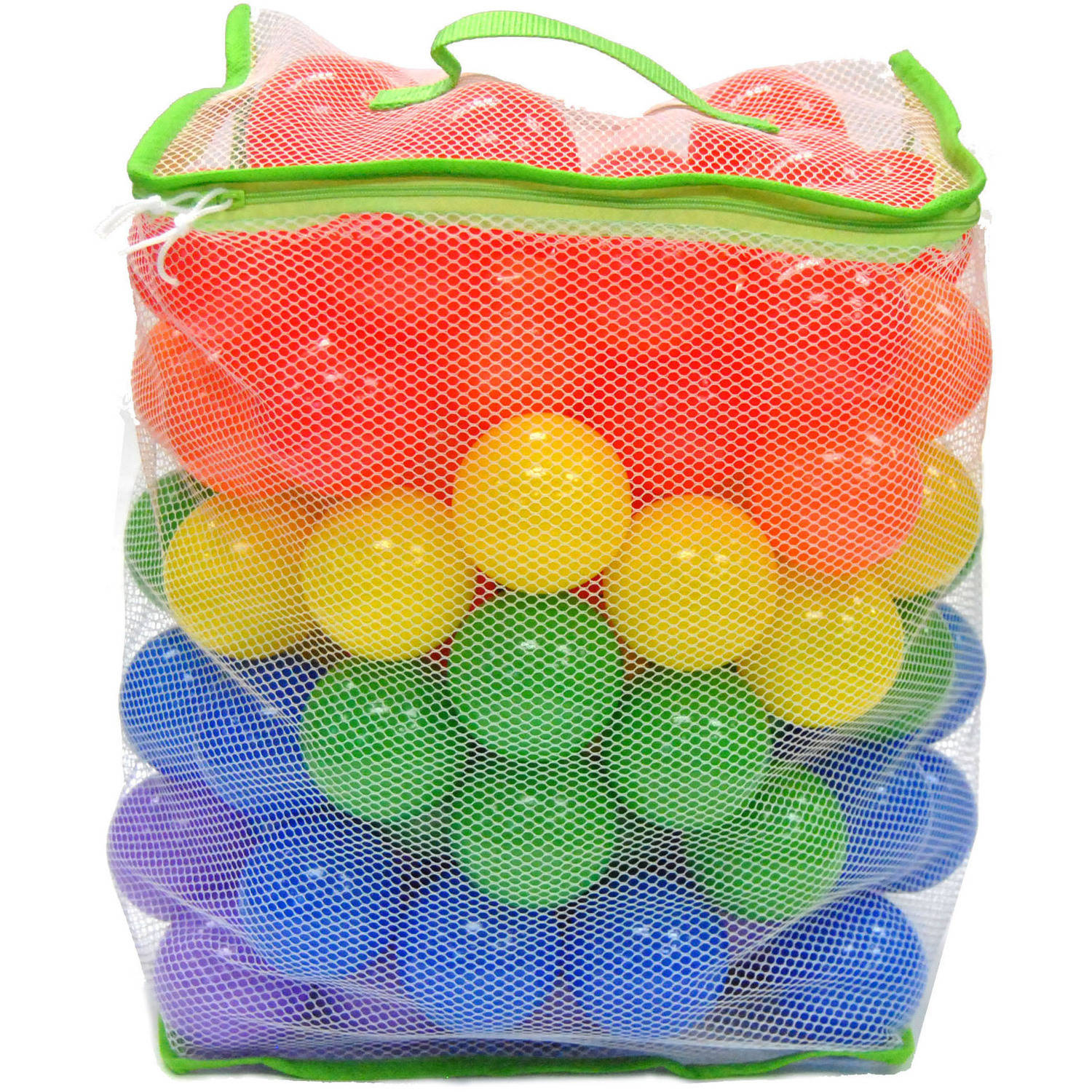 Non-Toxic 100 Wonder Playball 'Phthalate Free' Crush Proof with Mesh Tote 6.5cm Pit Balls