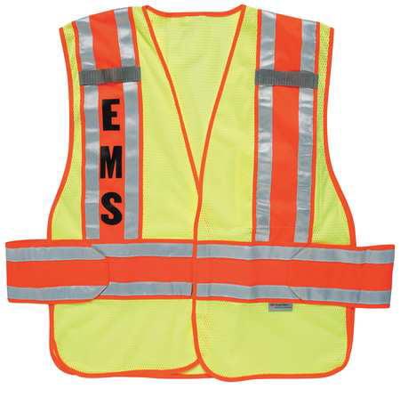 ERGODYNE Safety Vest,Orange,Polyester,XL/2XL 21386-EMS
