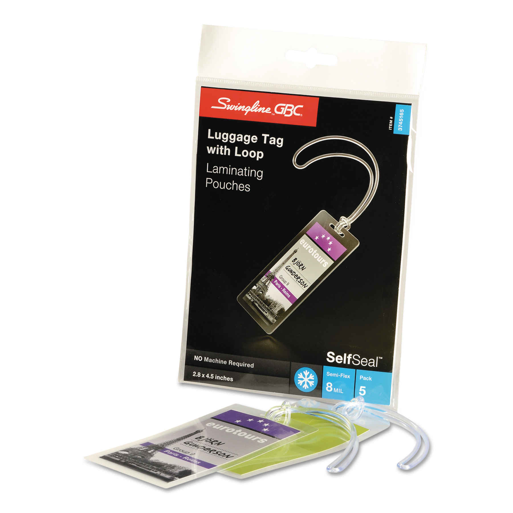 Swingline GBC, SWI3745165, SelfSeal™ Self Adhesive Laminating Pouches, 5 / Pack, Clear