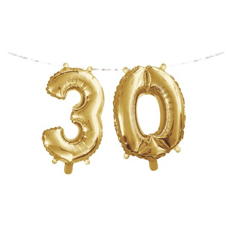 Gold Colored Foil - Club Pack of 24 Gold Colored Metallic '3' '0' Party Foil Balloon Banners 9.75
