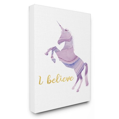 The Stupell Home Decor Collection I Believe In Unicorns Geode Silhouette Canvas Wall Art