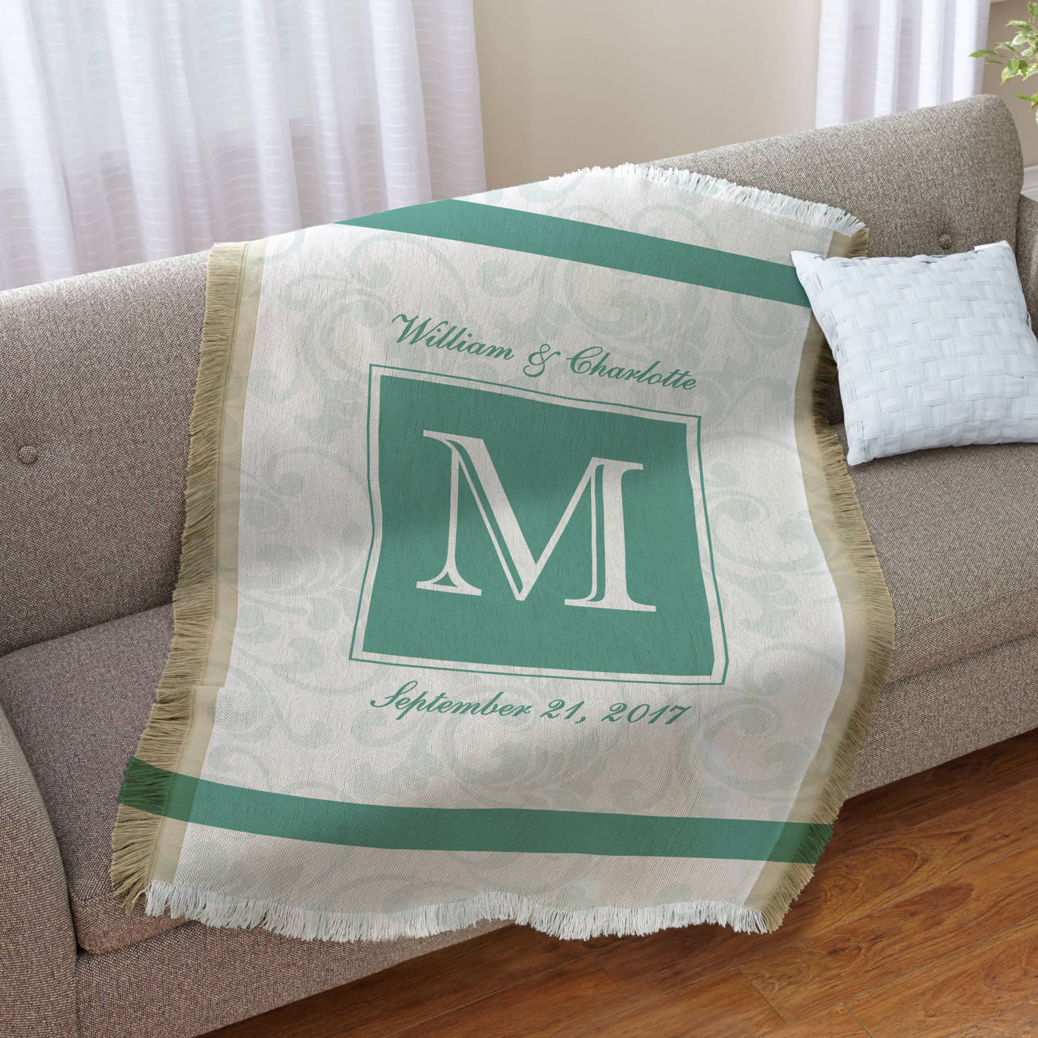Personalized Initially Ours Throw, Available in Gray or Tan