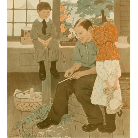 The Boy lives on our Farm 1911 Basket weaving Canvas Art - Ethel Franklin Betts (24 x 36)