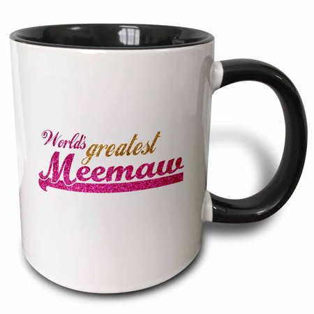 3dRose Worlds Greatest Meemaw - pink and gold text - Gifts for grandmothers - Best grandma nickname - Two Tone Black Mug,