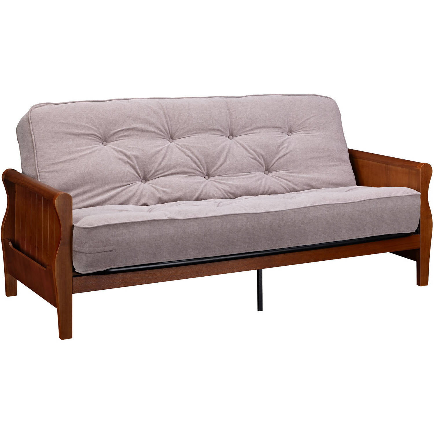Better Homes Gardens Wood Arm Futon With 8 Coil Mattress Multiple Colors